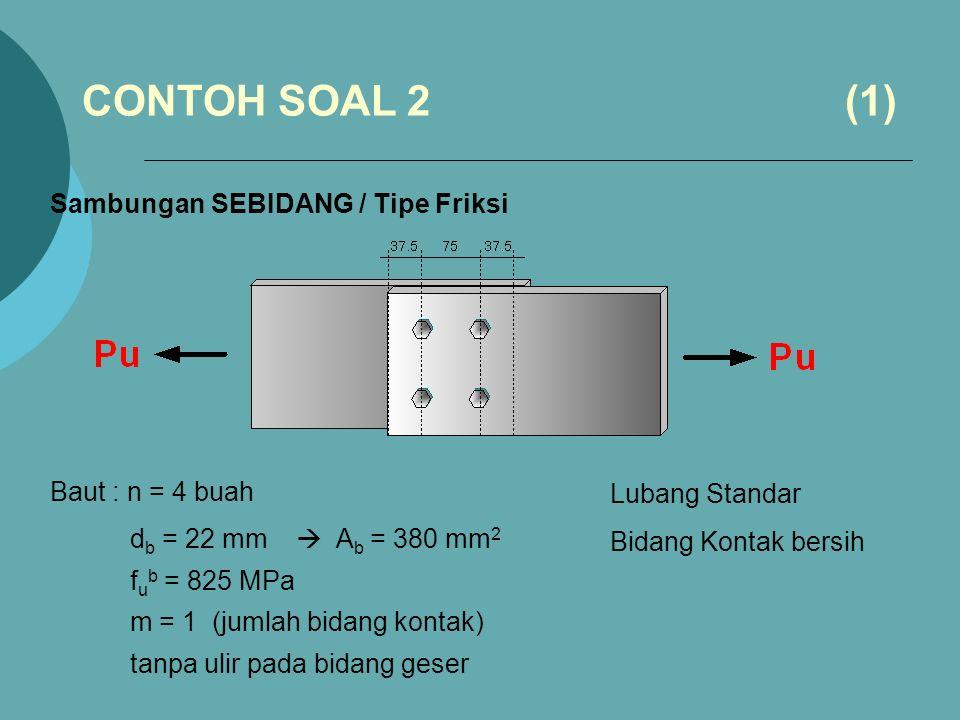 CONTOH SOAL 2 (1) Sambungan SEBIDANG / Tipe Friksi Baut : n = 4 buah
