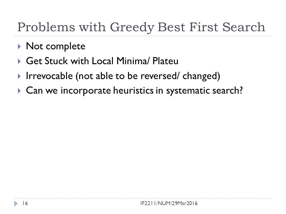 Problems with Greedy Best First Search
