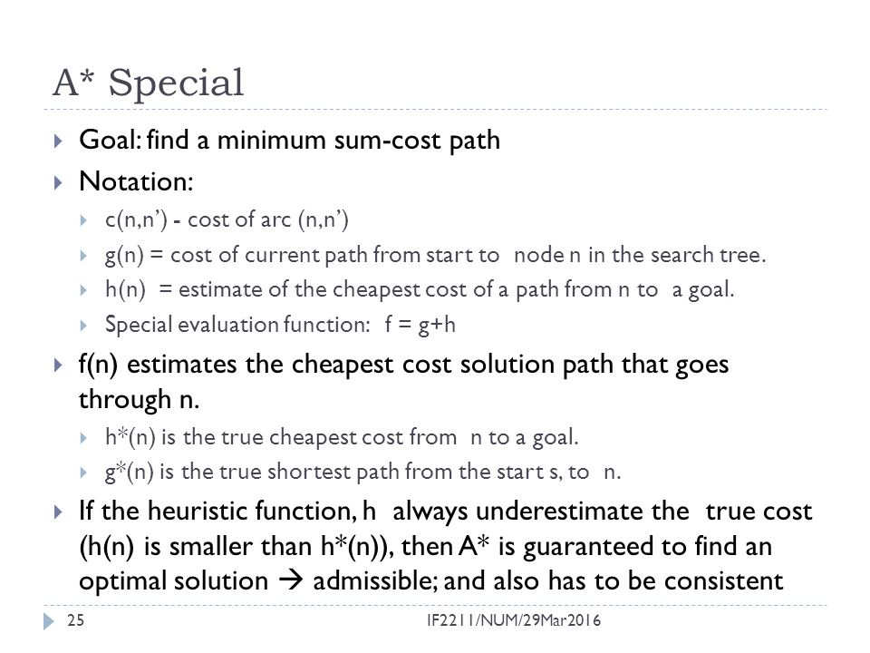 A* Special Goal: find a minimum sum-cost path Notation:
