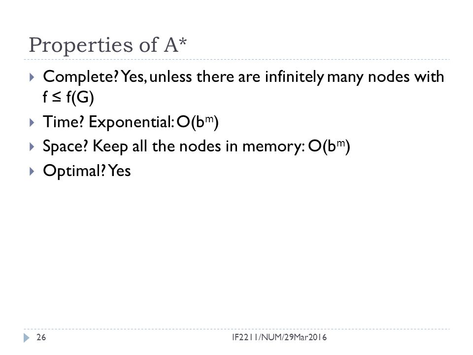 Properties of A* Complete Yes, unless there are infinitely many nodes with f ≤ f(G) Time Exponential: O(bm)