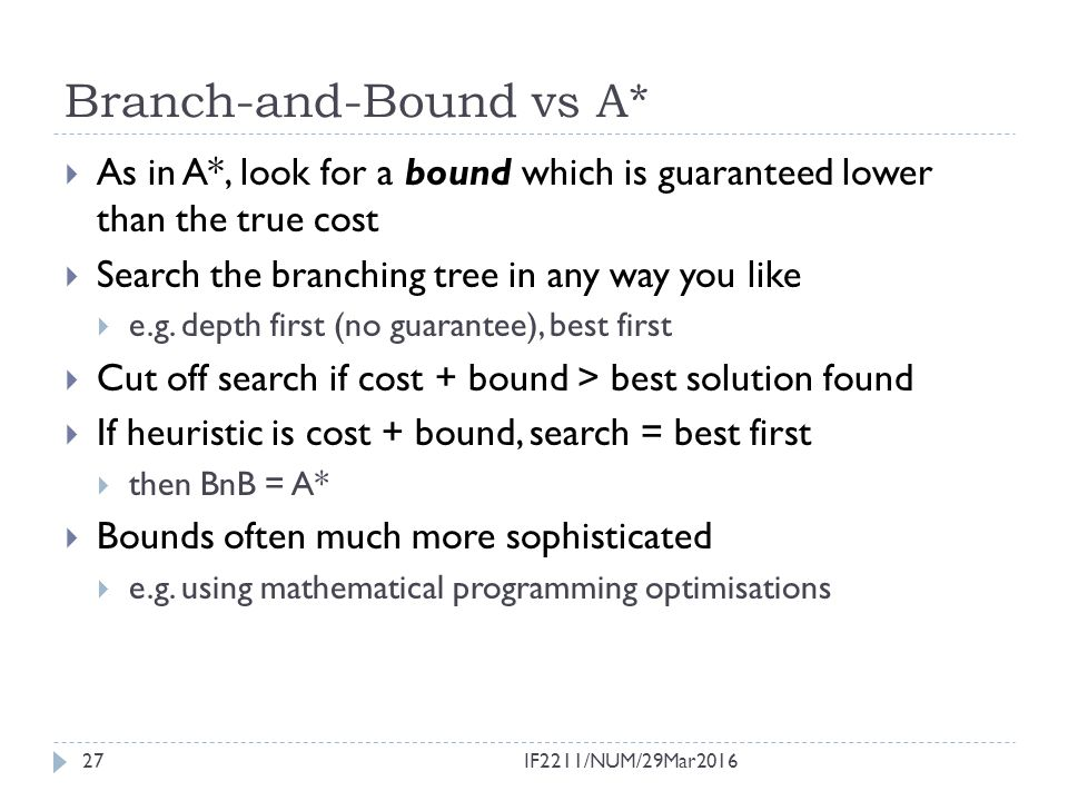 Branch-and-Bound vs A*