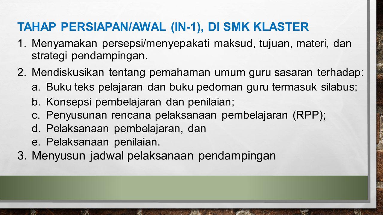 TAHAP PERSIAPAN/AWAL (IN-1), DI SMK KLASTER
