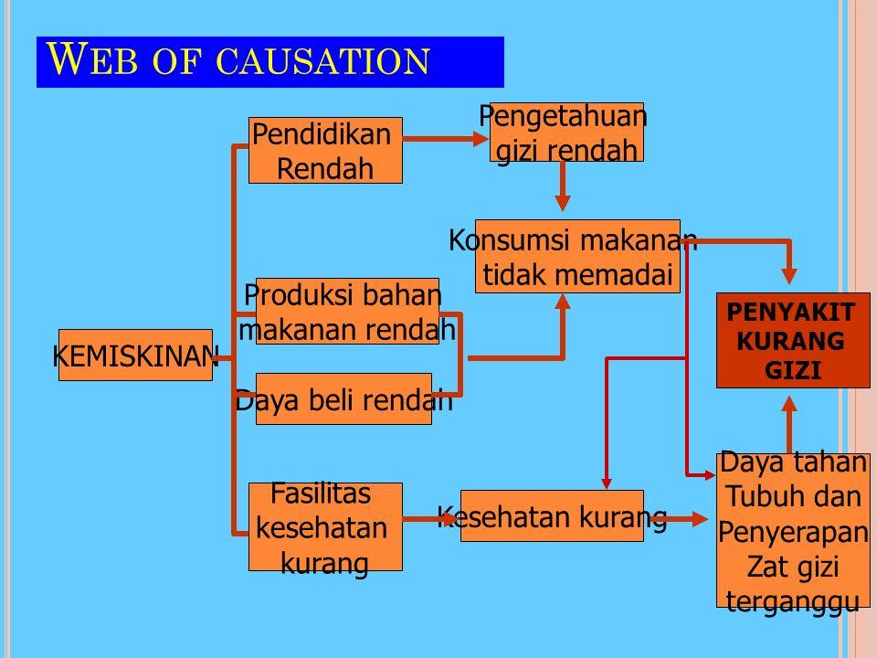 Web of causation Pengetahuan Pendidikan gizi rendah Rendah