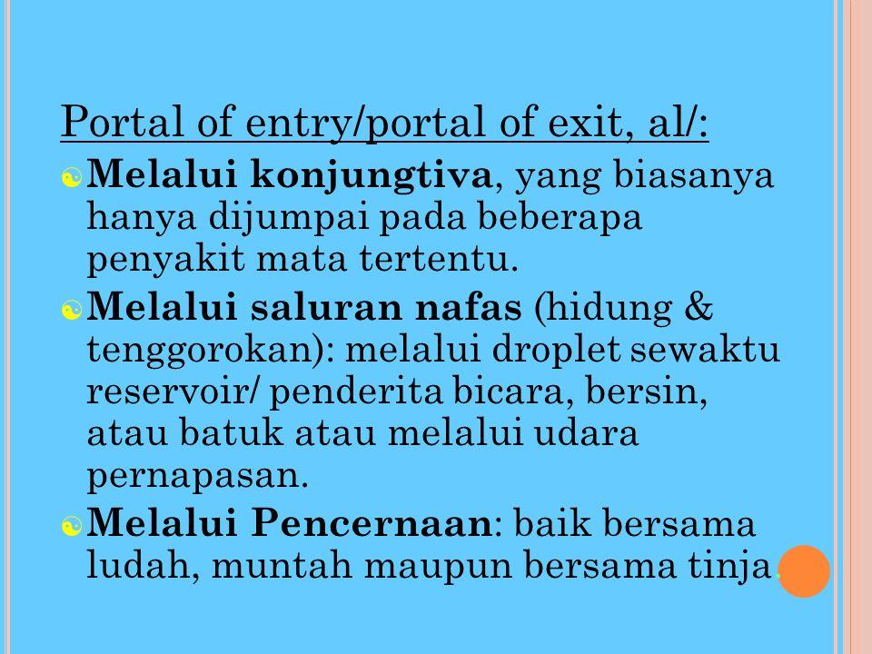Portal of entry/portal of exit, al/: