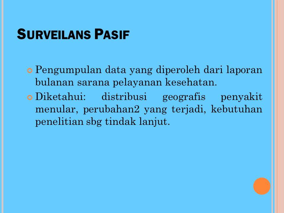 Surveilans Pasif Pengumpulan data yang diperoleh dari laporan bulanan sarana pelayanan kesehatan.