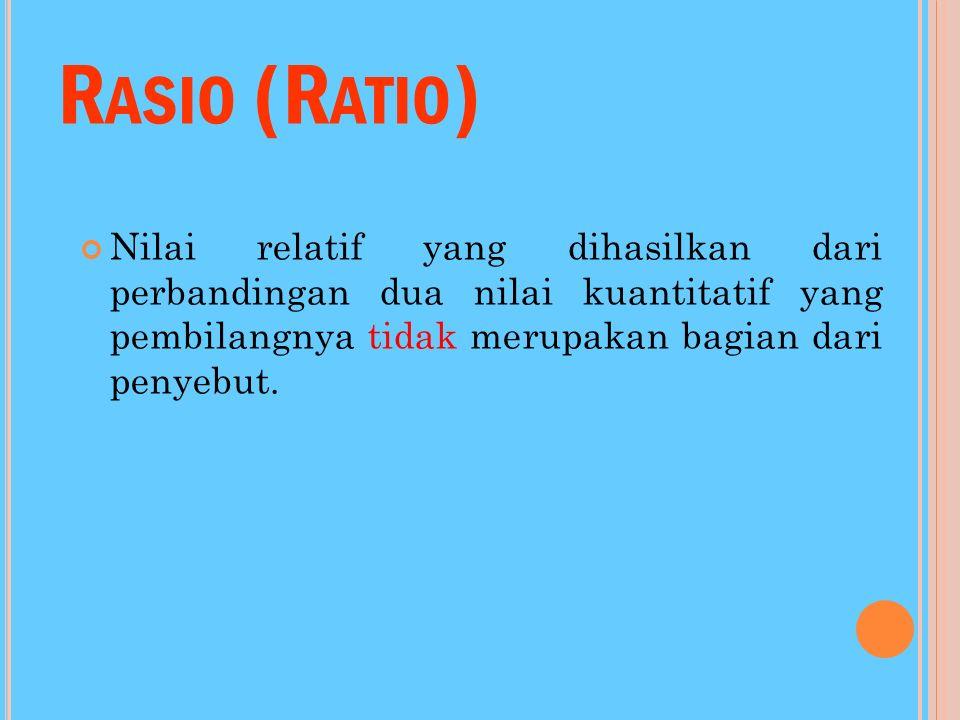 Rasio (Ratio) Nilai relatif yang dihasilkan dari perbandingan dua nilai kuantitatif yang pembilangnya tidak merupakan bagian dari penyebut.