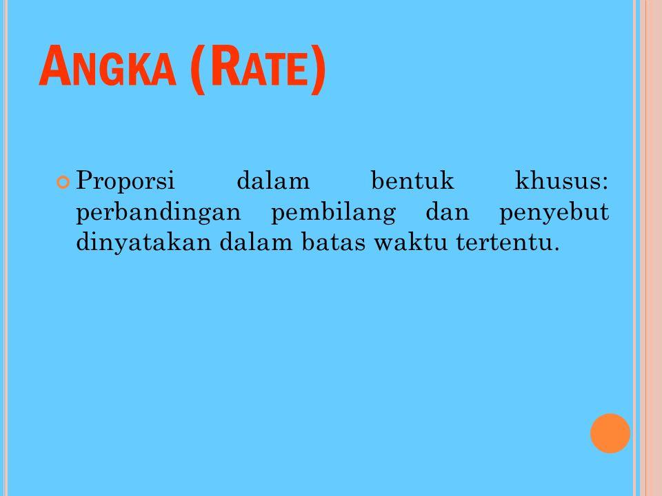 Angka (Rate) Proporsi dalam bentuk khusus: perbandingan pembilang dan penyebut dinyatakan dalam batas waktu tertentu.