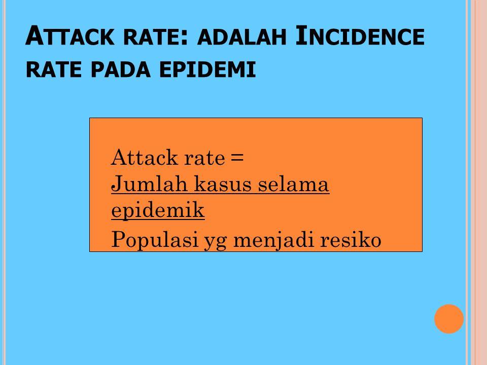 Attack rate: adalah Incidence rate pada epidemi