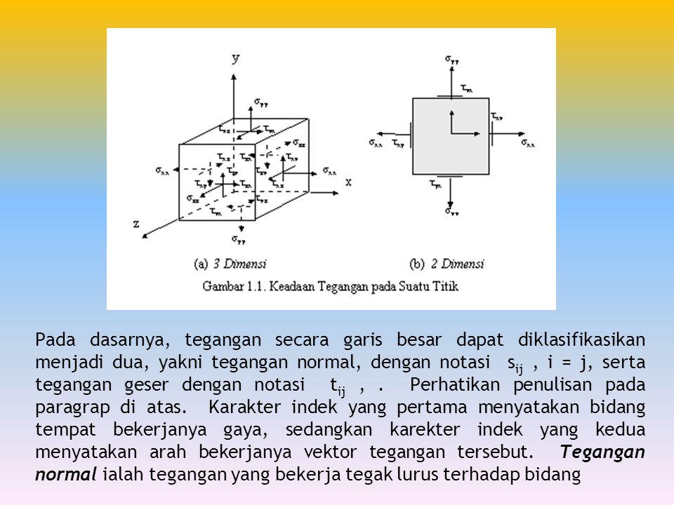 Pada dasarnya, tegangan secara garis besar dapat diklasifikasikan menjadi dua, yakni tegangan normal, dengan notasi sij , i = j, serta tegangan geser dengan notasi tij , .