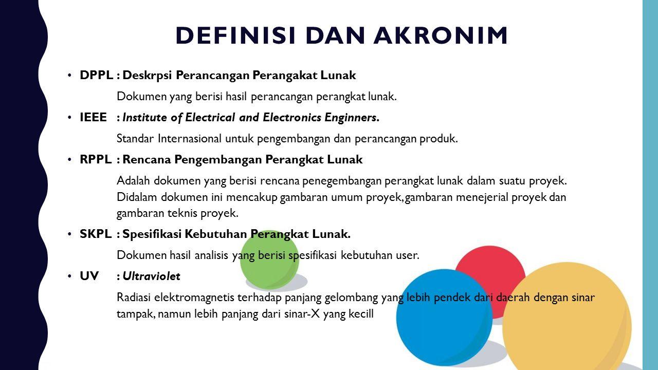Definisi dan akronim DPPL : Deskrpsi Perancangan Perangakat Lunak