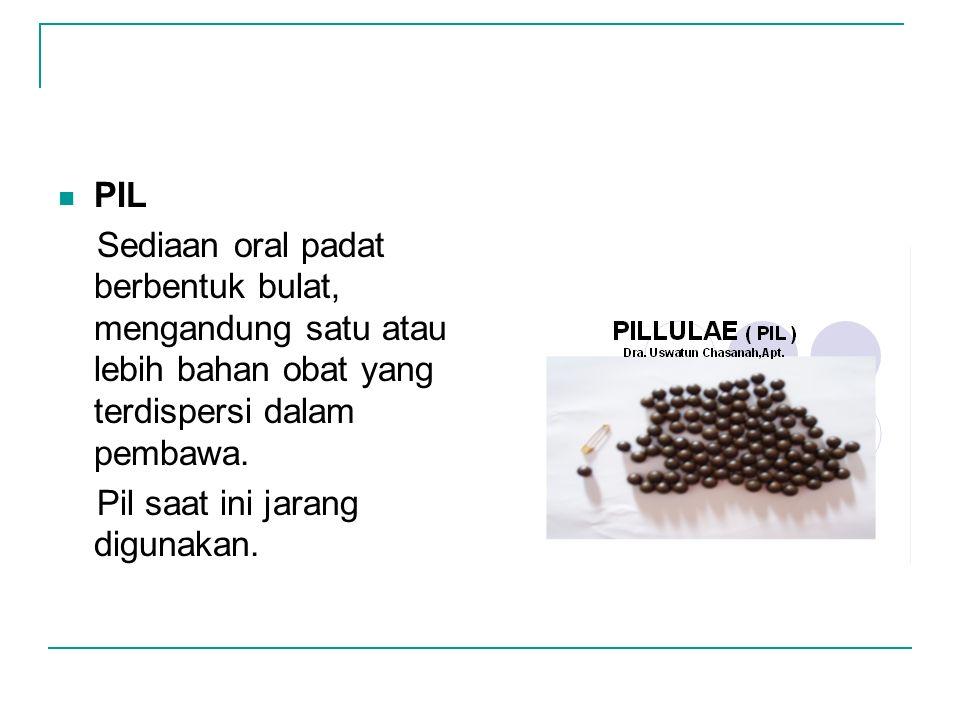 PIL Sediaan oral padat berbentuk bulat, mengandung satu atau lebih bahan obat yang terdispersi dalam pembawa.