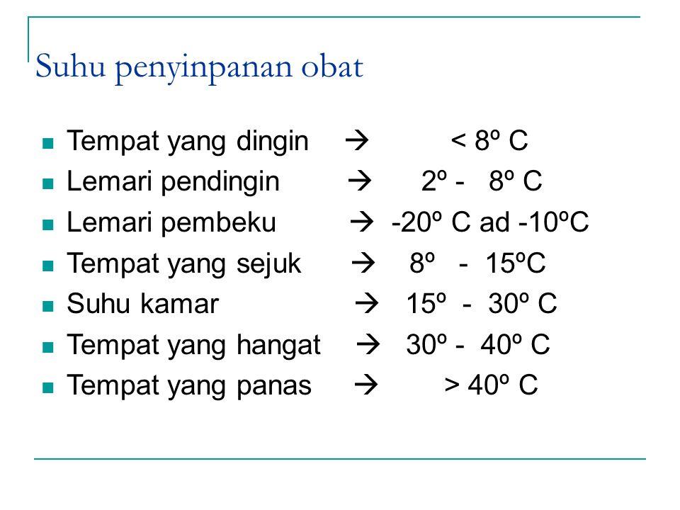 Suhu penyinpanan obat Tempat yang dingin  < 8º C