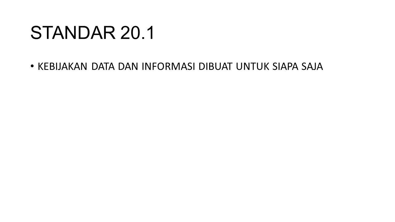STANDAR 20.1 KEBIJAKAN DATA DAN INFORMASI DIBUAT UNTUK SIAPA SAJA