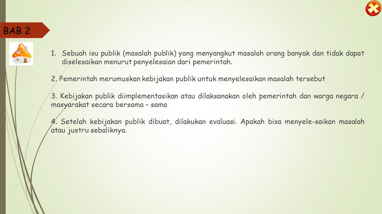 BAB 2 Sebuah isu publik (masalah publik) yang menyangkut masalah orang banyak dan tidak dapat diselesaikan menurut penyelesaian dari pemerintah.