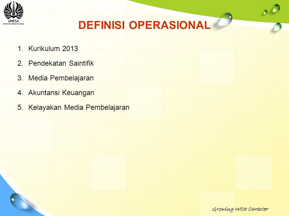 DEFINISI OPERASIONAL Kurikulum 2013 Pendekatan Saintifik