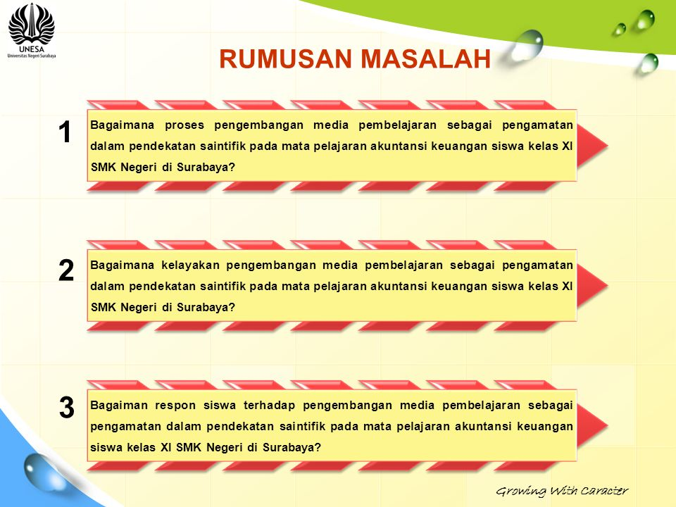 1 2 3 RUMUSAN MASALAH Growing With Caracter