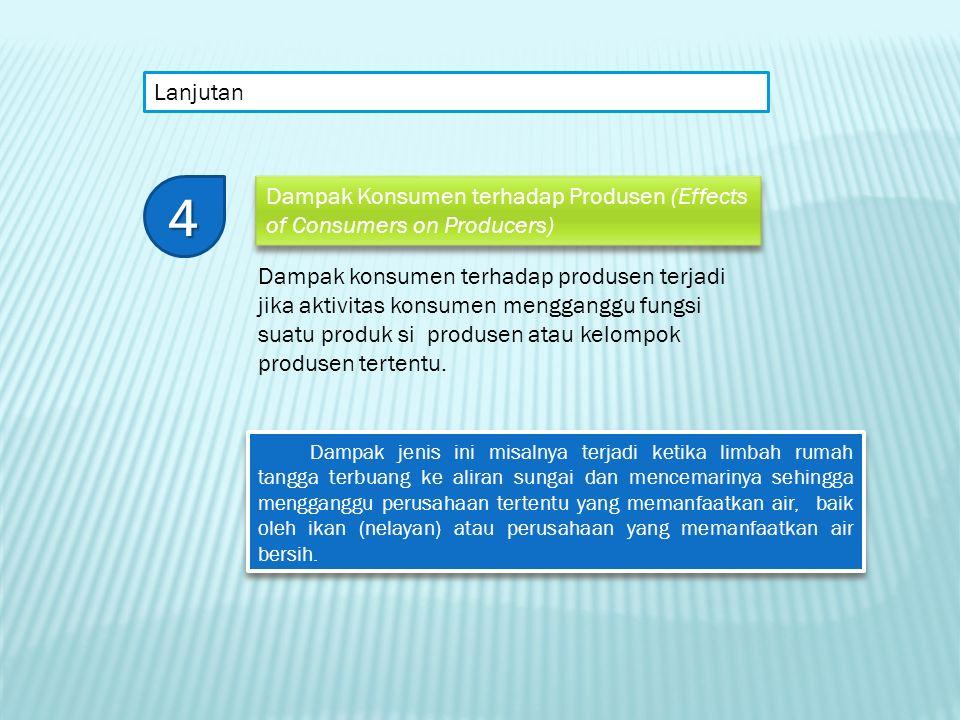 Lanjutan 4. Dampak Konsumen terhadap Produsen (Effects of Consumers on Producers)