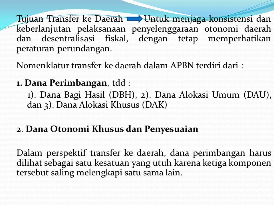 Tujuan Transfer ke Daerah Untuk menjaga konsistensi dan keberlanjutan pelaksanaan penyelenggaraan otonomi daerah dan desentralisasi fiskal, dengan tetap memperhatikan peraturan perundangan.