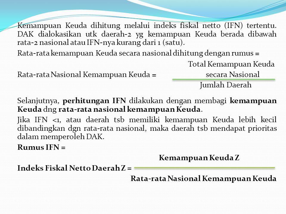 Kemampuan Keuda dihitung melalui indeks fiskal netto (IFN) tertentu