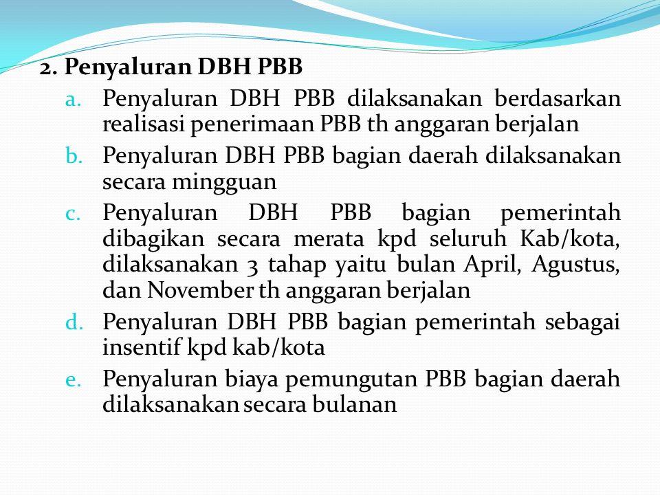 2. Penyaluran DBH PBB Penyaluran DBH PBB dilaksanakan berdasarkan realisasi penerimaan PBB th anggaran berjalan.