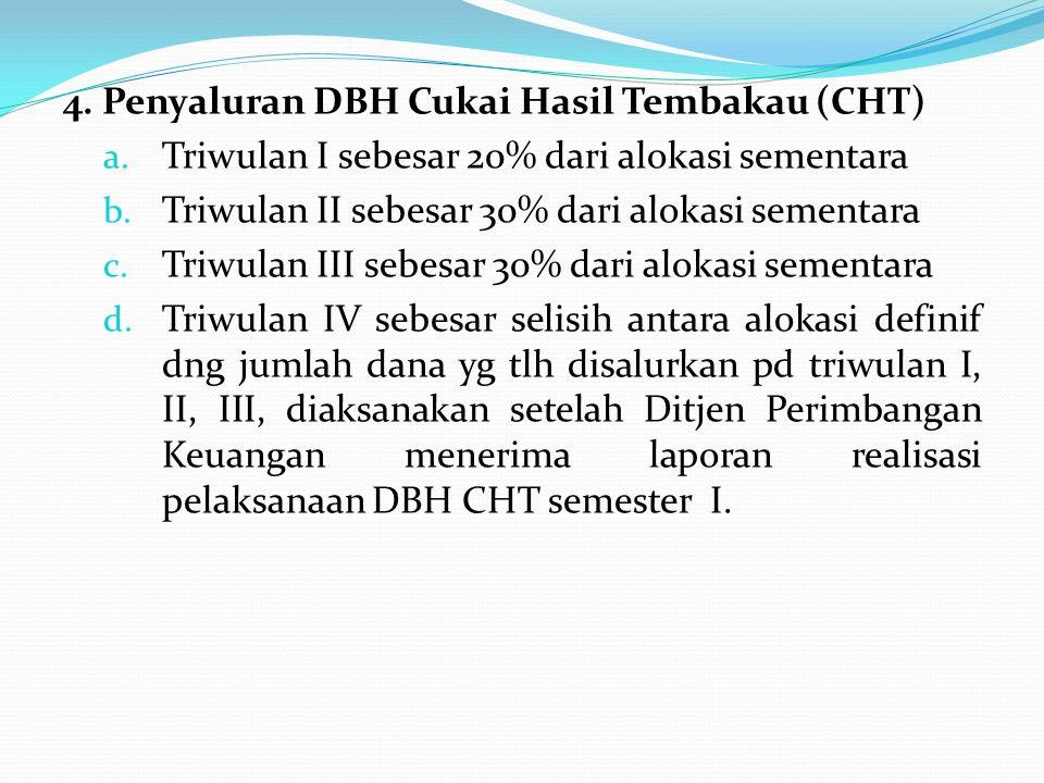 4. Penyaluran DBH Cukai Hasil Tembakau (CHT)