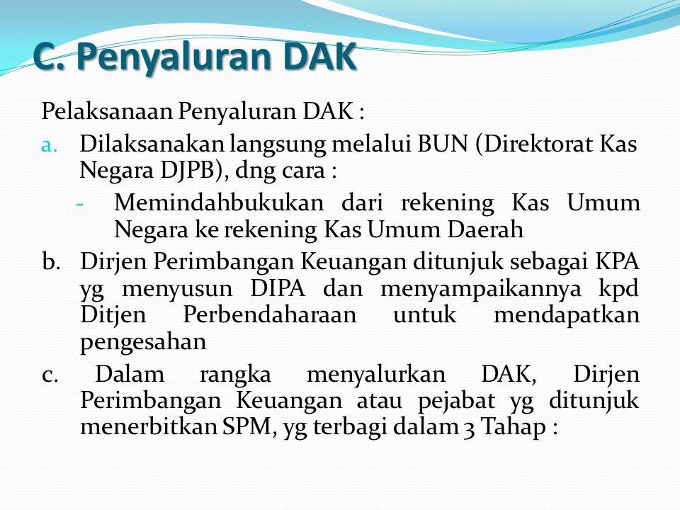 C. Penyaluran DAK Pelaksanaan Penyaluran DAK :