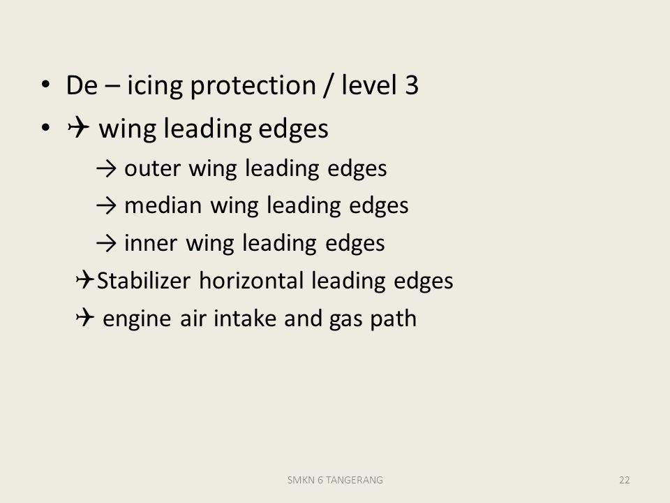 De – icing protection / level 3  wing leading edges