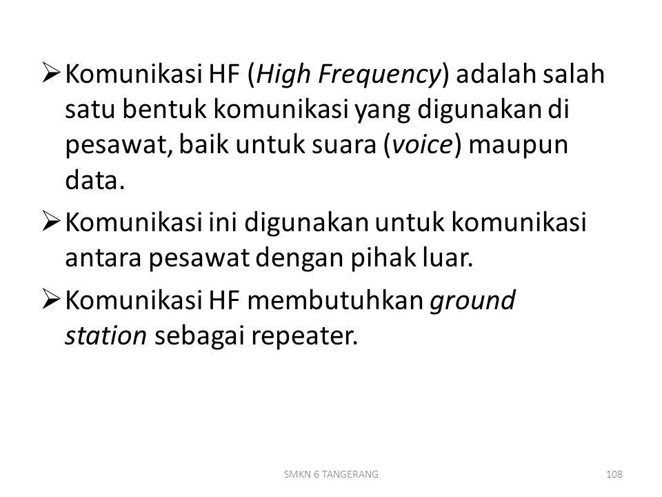 Komunikasi HF membutuhkan ground station sebagai repeater.