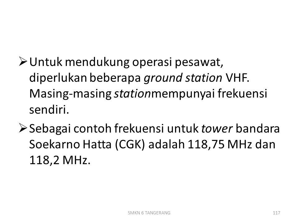 Untuk mendukung operasi pesawat, diperlukan beberapa ground station VHF. Masing-masing stationmempunyai frekuensi sendiri.