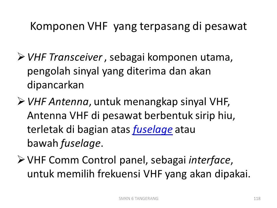 Komponen VHF yang terpasang di pesawat