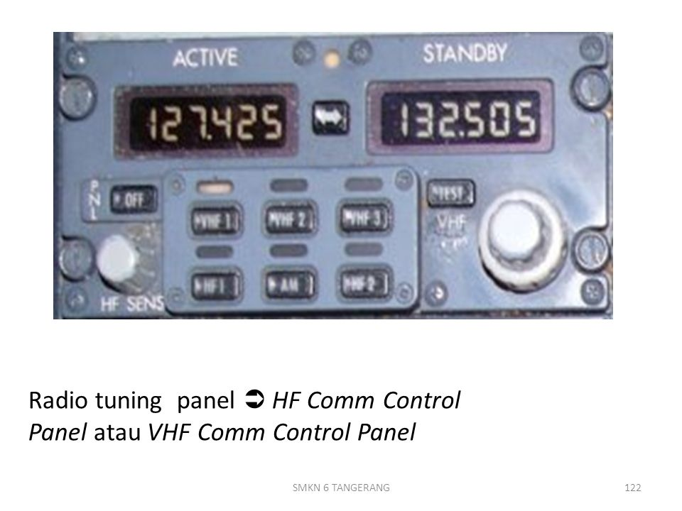 Radio tuning panel  HF Comm Control Panel atau VHF Comm Control Panel