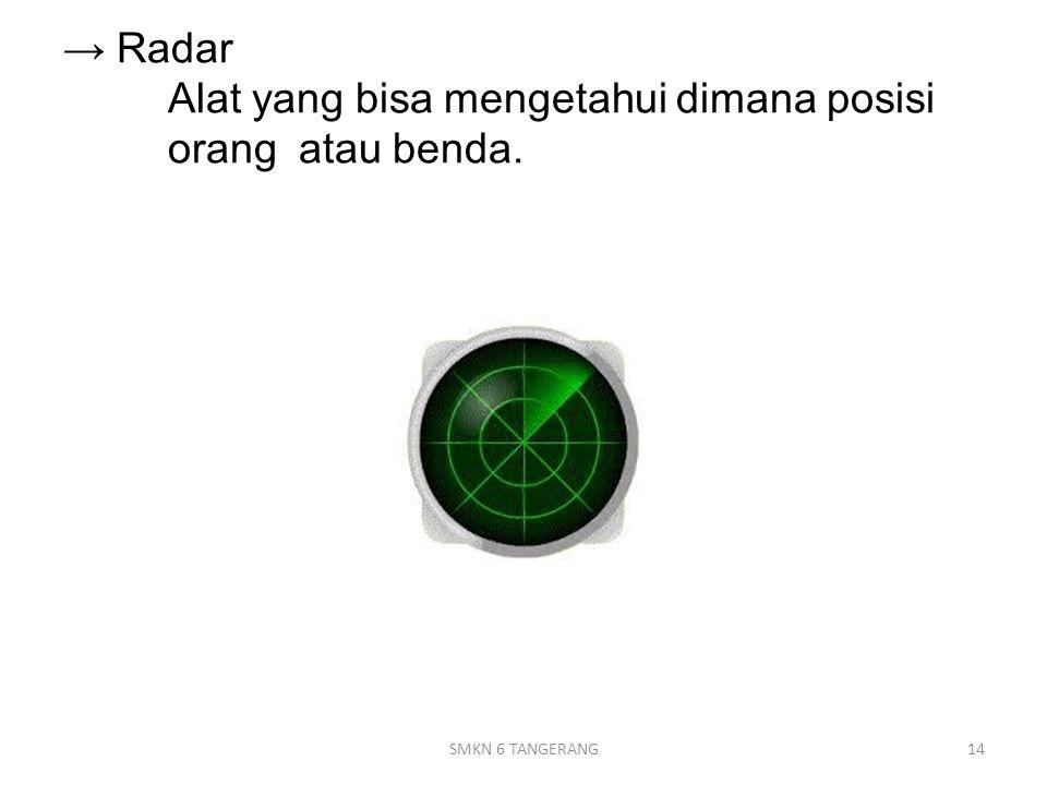 → Radar Alat yang bisa mengetahui dimana posisi orang atau benda.