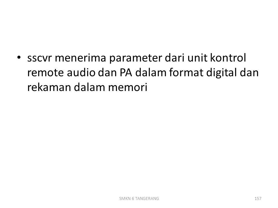 sscvr menerima parameter dari unit kontrol remote audio dan PA dalam format digital dan rekaman dalam memori