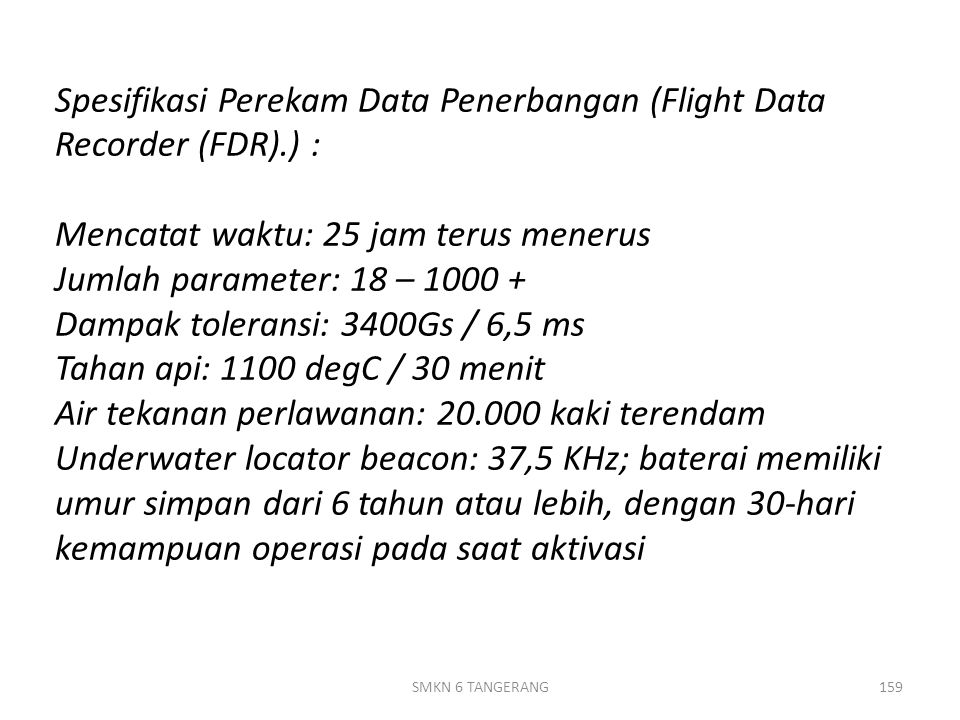 Spesifikasi Perekam Data Penerbangan (Flight Data Recorder (FDR)