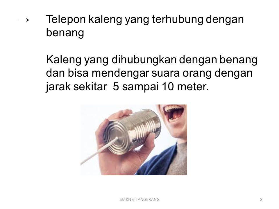 →. Telepon kaleng yang terhubung dengan. benang
