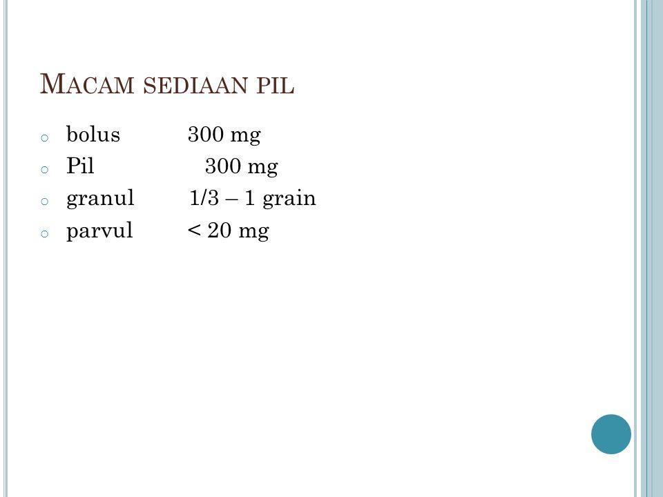 Macam sediaan pil bolus 300 mg Pil 300 mg granul 1/3 – 1 grain