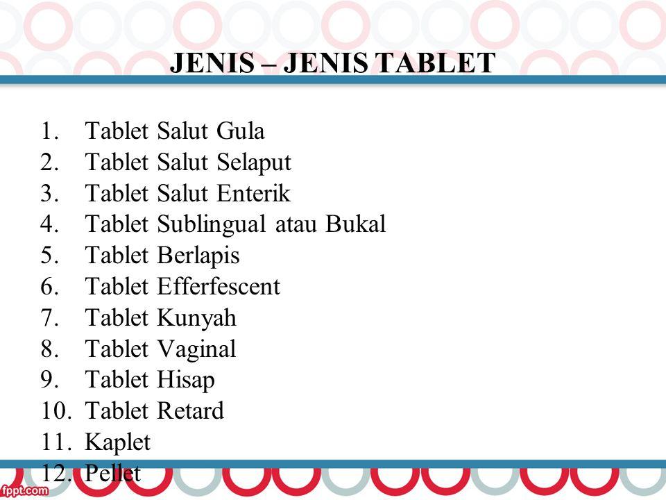 JENIS – JENIS TABLET Tablet Salut Gula Tablet Salut Selaput