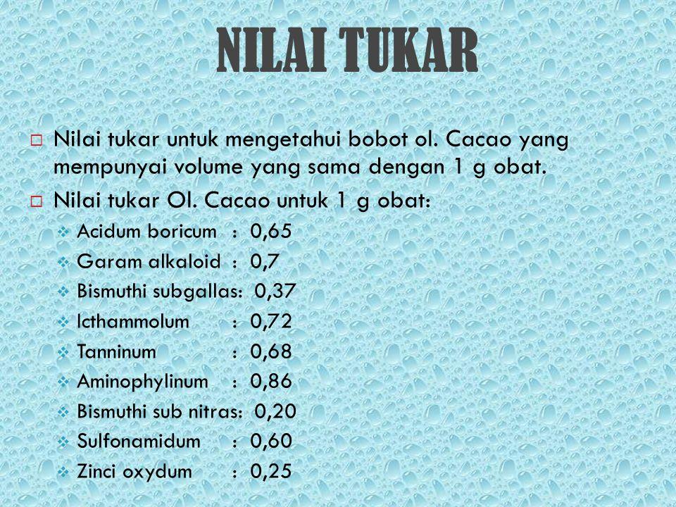NILAI TUKAR Nilai tukar untuk mengetahui bobot ol. Cacao yang mempunyai volume yang sama dengan 1 g obat.
