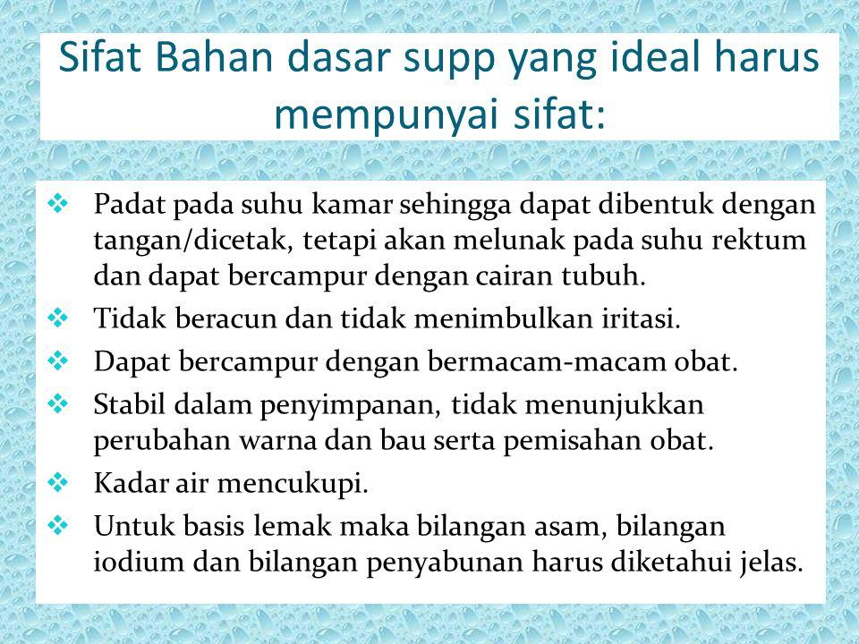 Sifat Bahan dasar supp yang ideal harus mempunyai sifat: