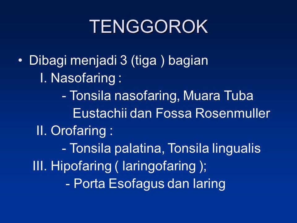 TENGGOROK Dibagi menjadi 3 (tiga ) bagian I. Nasofaring :