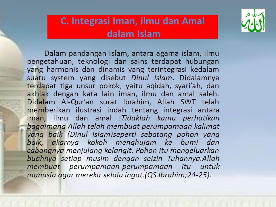 C. Integrasi Iman, ilmu dan Amal dalam Islam
