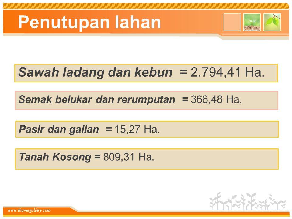 Penutupan lahan Sawah ladang dan kebun = 2.794,41 Ha.