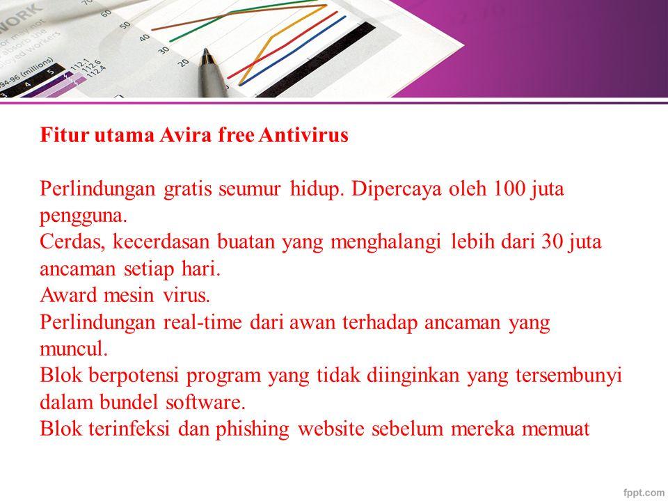 Fitur utama Avira free Antivirus Perlindungan gratis seumur hidup