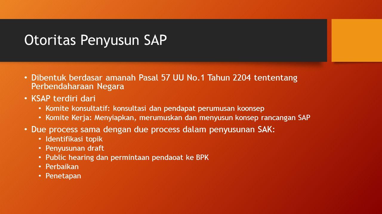 Otoritas Penyusun SAP Dibentuk berdasar amanah Pasal 57 UU No.1 Tahun 2204 tententang Perbendaharaan Negara.