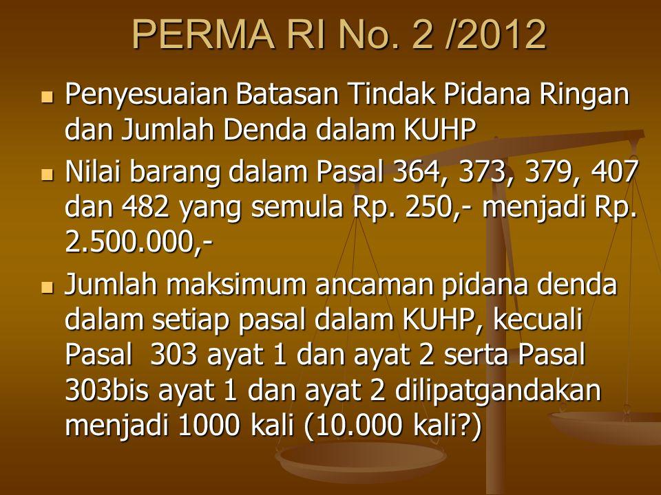 PERMA RI No. 2 /2012 Penyesuaian Batasan Tindak Pidana Ringan dan Jumlah Denda dalam KUHP.