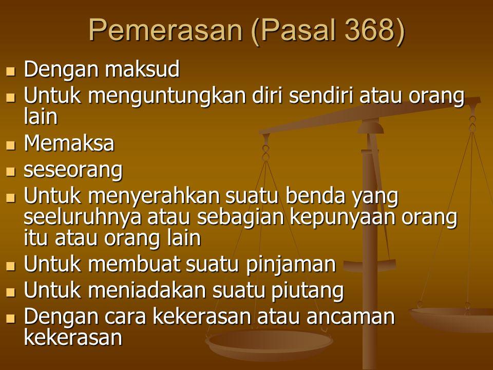 Pemerasan (Pasal 368) Dengan maksud