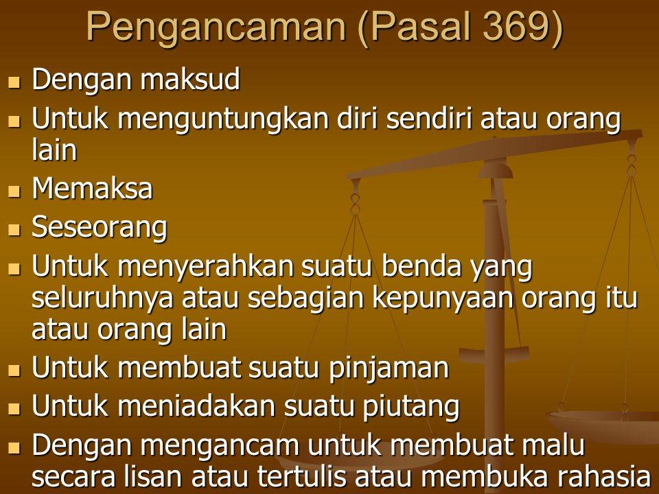 Pengancaman (Pasal 369) Dengan maksud