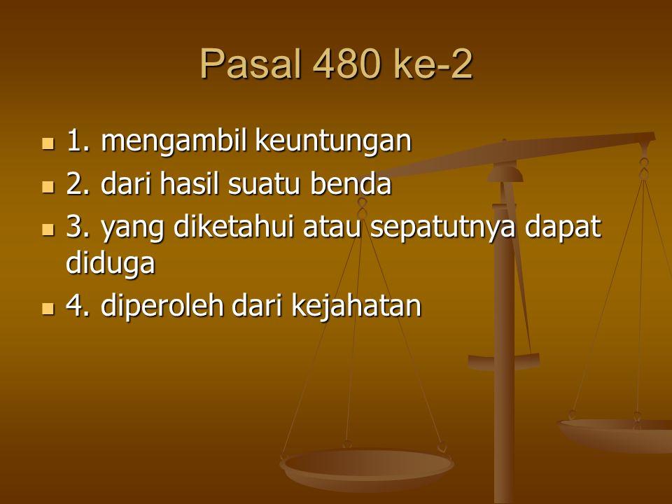 Pasal 480 ke-2 1. mengambil keuntungan 2. dari hasil suatu benda