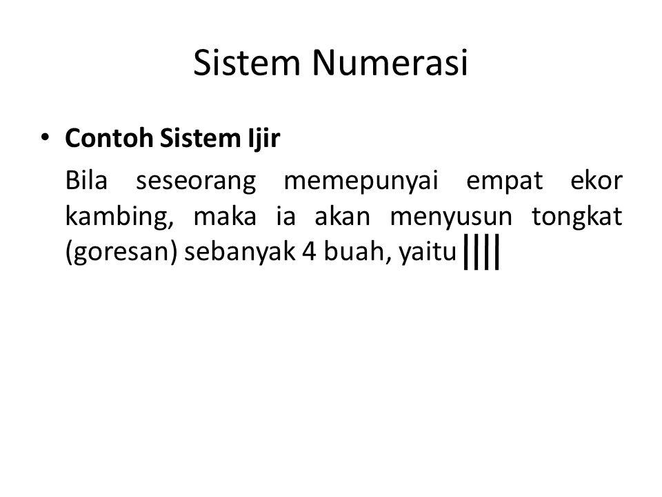 Sistem Numerasi Contoh Sistem Ijir