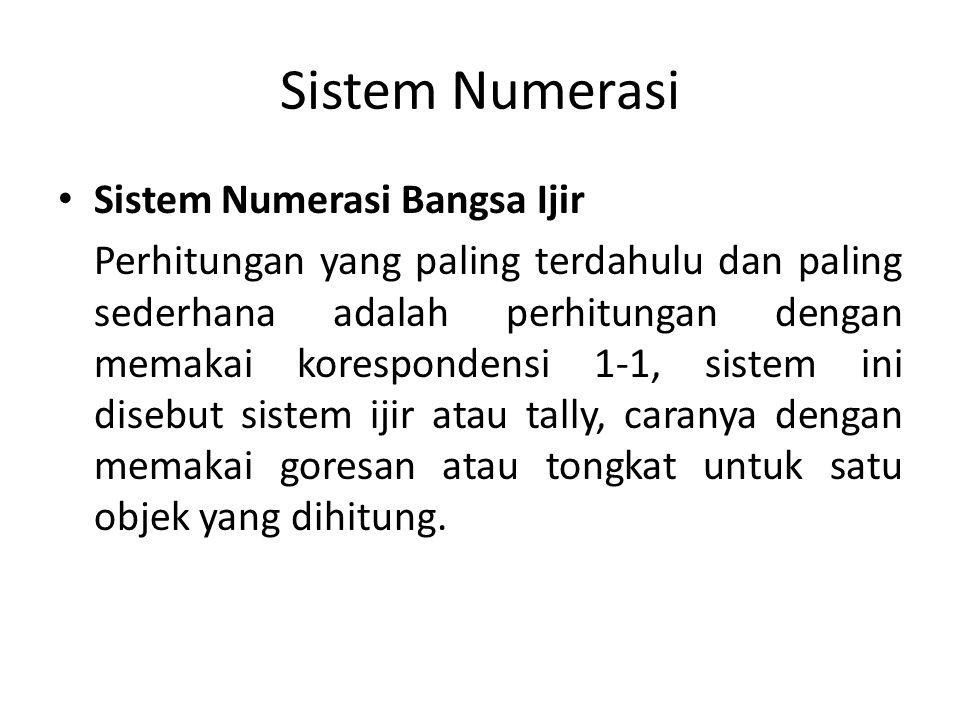 Sistem Numerasi Sistem Numerasi Bangsa Ijir